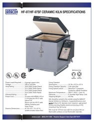 HF-97 technical specifications, furniture kit, and vent system ... - Amaco