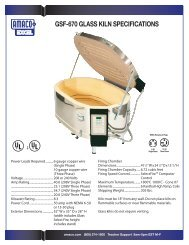 GSF-670 technical specifications and furniture kit - Amaco
