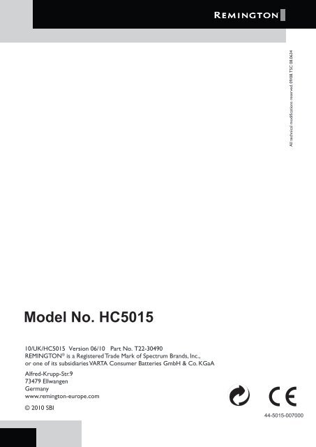 Remington HC5015 User Manual