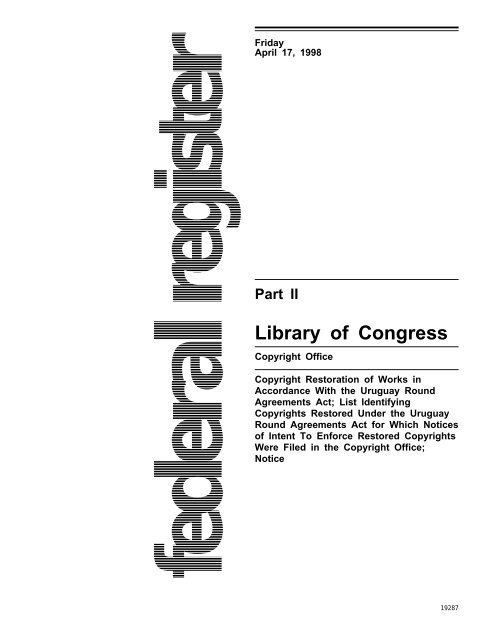 Part Ii Library Of Congress Us Copyright Office