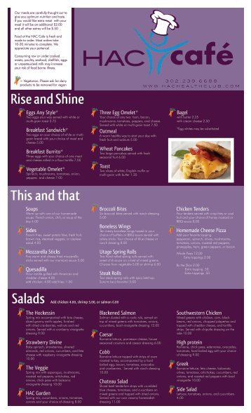 HAC Cafe Menu - Hockessin Athletic Club