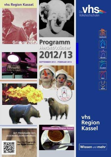 Programm vhs Region Kassel Herbst/Winter 2012/13