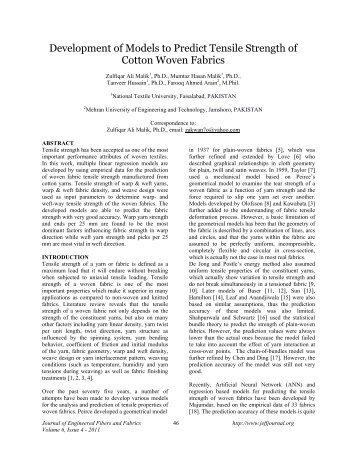 Development of Models to Predict Tensile Strength of Cotton Woven ...