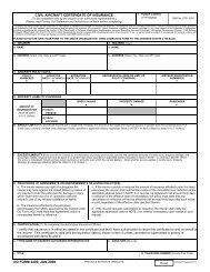 DD Form 2400, Civil Aircraft Certificate of Insurance, January 2008
