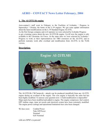 AERO – CONTACT News Letter February, 2004 - L-39 Enthusiasts