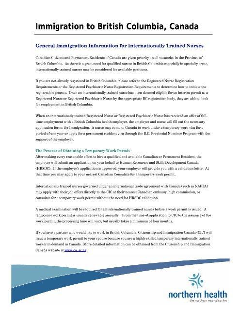 Immigration To British Columbia Canada Northern Health