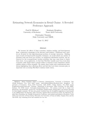 Estimating Network Economies in Retail Chains - Department of ...