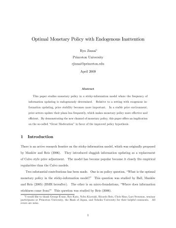 Optimal Monetary Policy with Endogenous Inattention