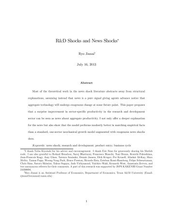R&D Shocks and News Shocks! - Department of Economics - Texas ...