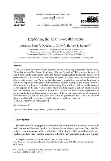 Exploring the health–wealth nexus - Department of Economics