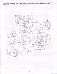 repair parts for broadcast spreader model 45-02111 - Agri-Fab