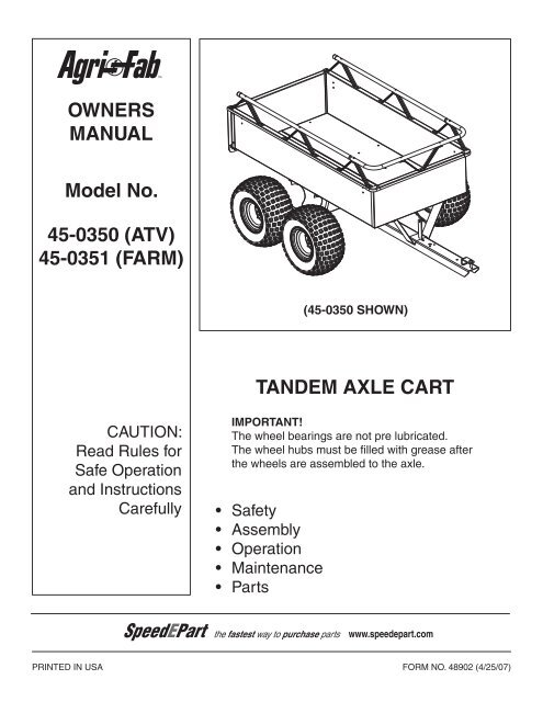 Owners manual model no. 45-0264 row crop. Agri-fab.