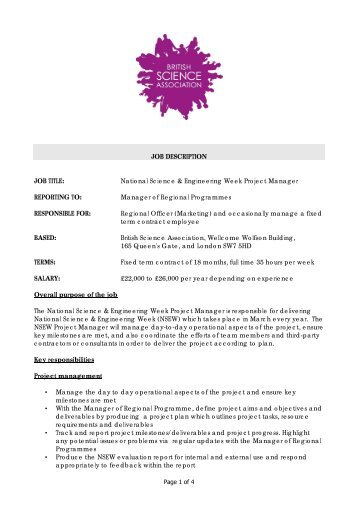 National Science & Engineering Week Project Manager ...