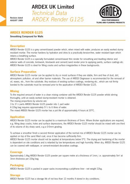 ARDEX UK Limited Technical Data ARDEX     - EPMS Supplies