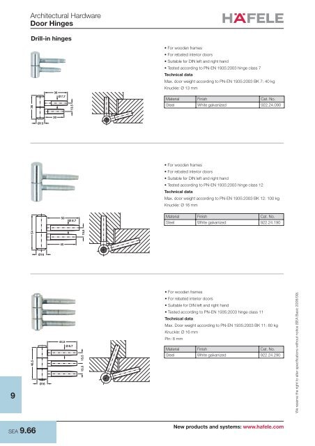 Architectural Hardware Door Hinges - Hafele
