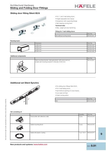 Architectural Hardware Sliding and Folding Door Fittings - Hafele