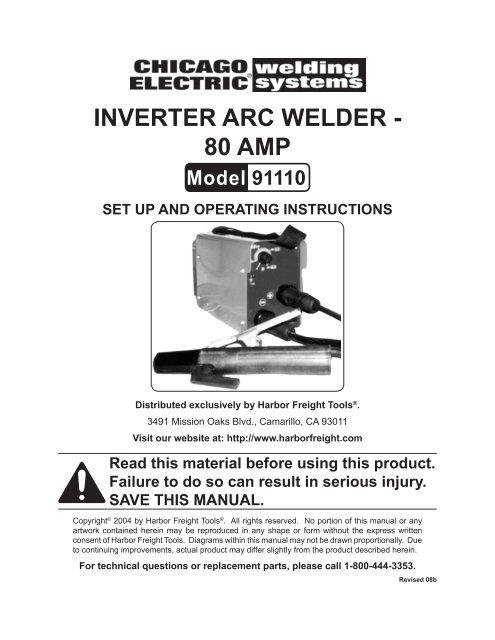 INVERTER ARC WELDER - 80 AMP - Harbor Freight Tools
