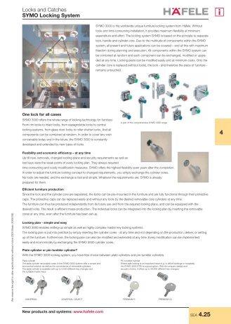 Lock and catches - Symo locking system - Hafele