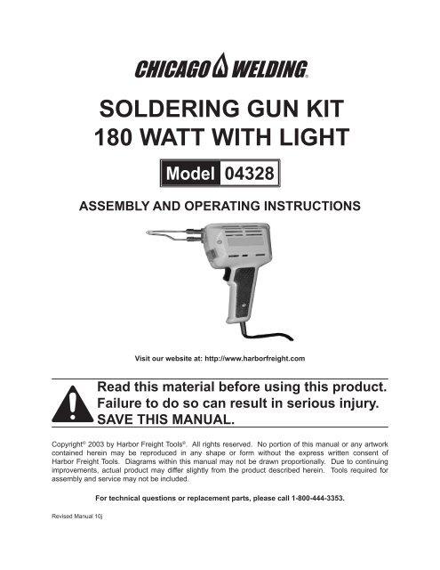SOLDERING GUN KIT 180 WATT WITH LIGHT - Harbor Freight Tools on