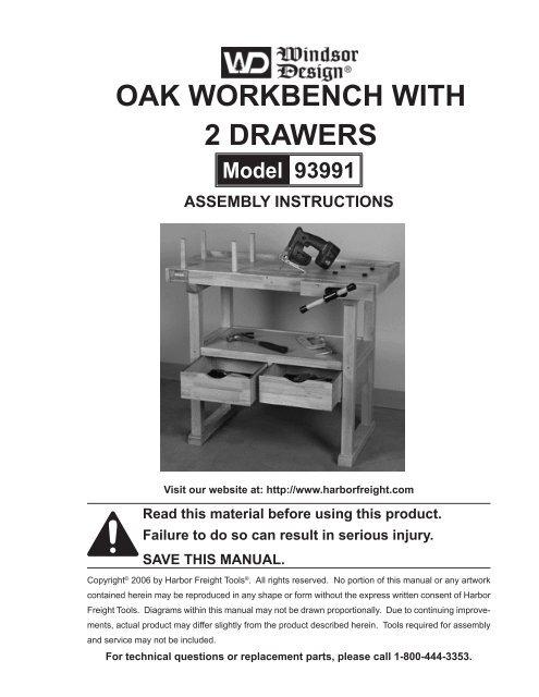 Fabulous Oak Workbench With 2 Drawers Harbor Freight Tools Short Links Chair Design For Home Short Linksinfo