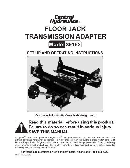 Floor jack transmission adapter - Harbor Freight Tools