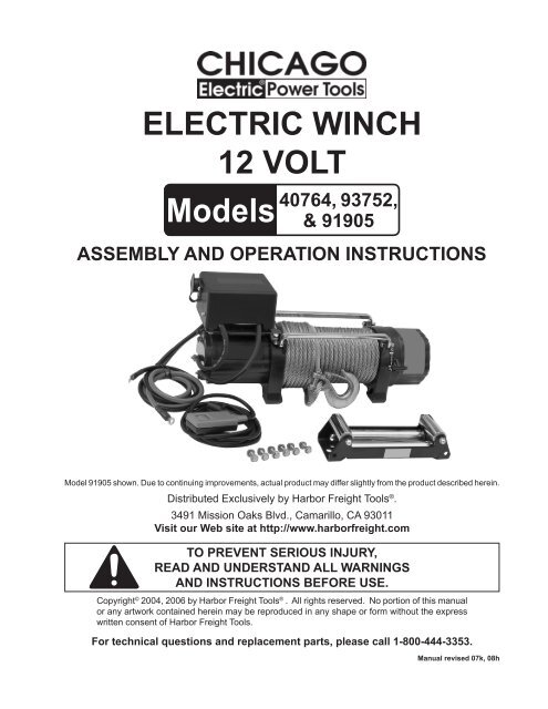 ELECTRIC WINCH 12 VOLT - Harbor Freight Tools on