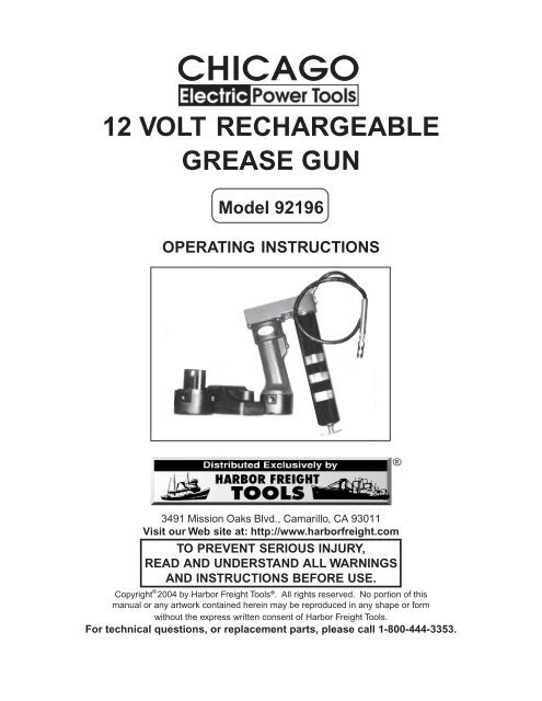12 VOLT RECHARGEABLE GREASE GUN Model 92196 ... Harbor Freight Winch Wiring Diagram Hp Dc on