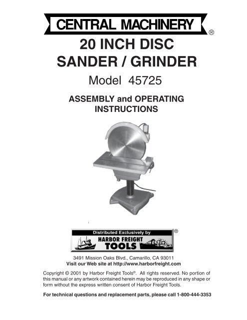 20 Inch Disc Sander Grinder Harbor Freight Tools