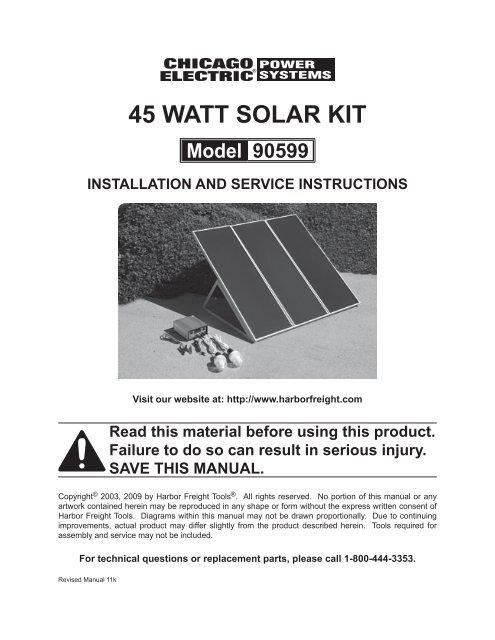 45 Watt Solar Kit Harbor Freight Tools