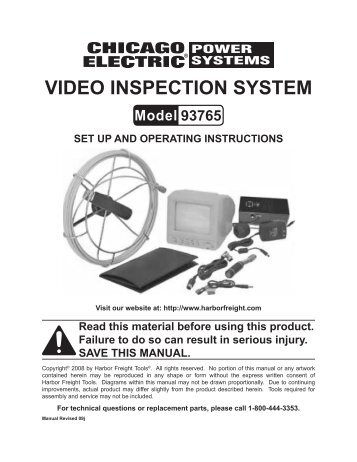 VIDEO INSPECTION SYSTEM - Harbor Freight Tools