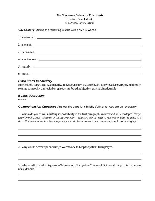 the screwtape letters by cs lewis letter 4 worksheet vocabulary