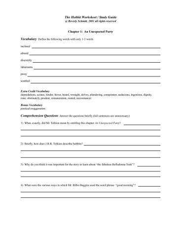 Hobbit Worksheets Chapter 1-3 Questions | Woo! Jr. Kids ...
