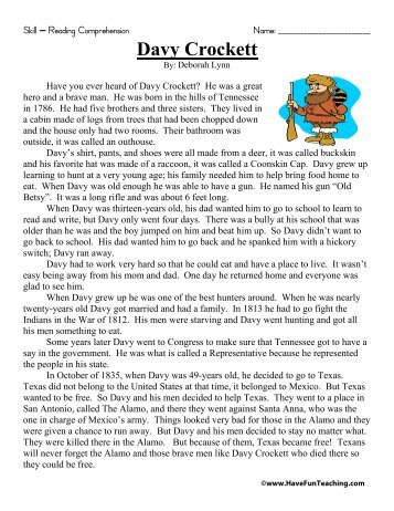 Davy Crockett Reading Comprehension - Have Fun Teaching