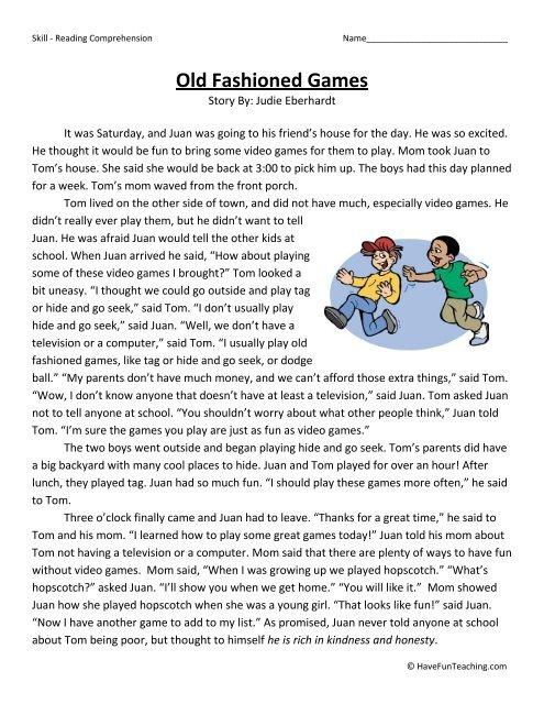 Second Grade Prehension Worksheet