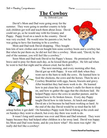The Cowboy Reading Comprehension - Have Fun Teaching