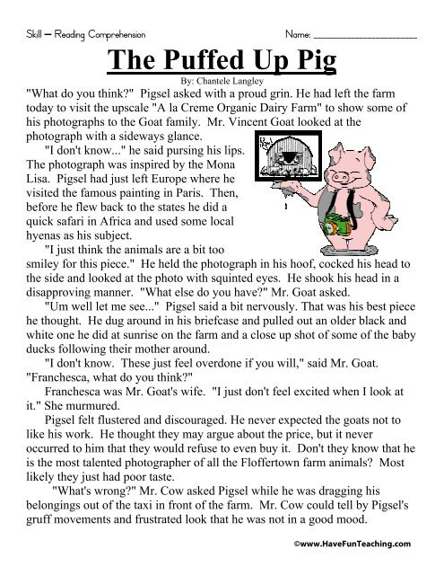 The Puffed Up Pig Reading Comprehension Worksheet - Have Fun ...
