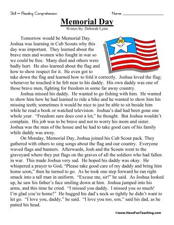 Memorial Day Reading Comprehension - Have Fun Teaching