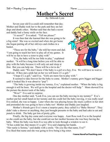 Mother's Secret Reading Comprehension - Have Fun Teaching