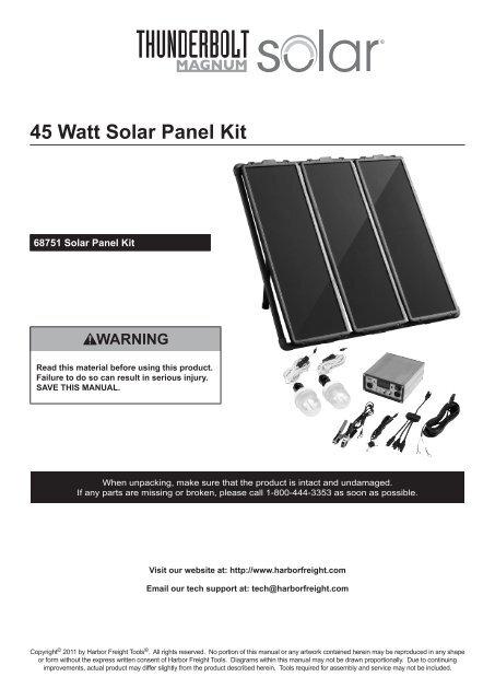 45 Watt Solar Panel Kit Harbor Freight Tools