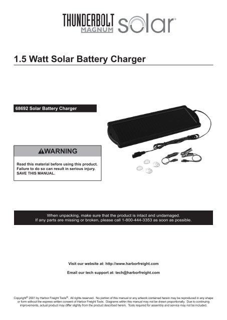 1 5 Watt Solar Battery Charger Harbor Freight Tools