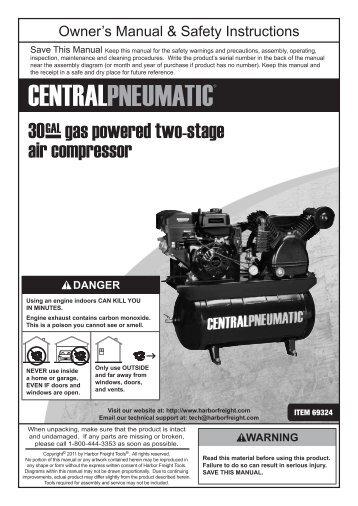 2-1/2 hp 10 gallon 125 psi air compressor - harbor freight tools