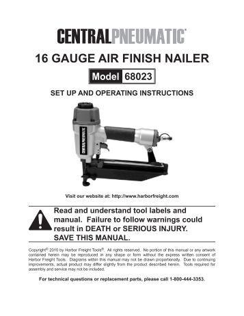 16 gauge air finish nailer harbor freight tools