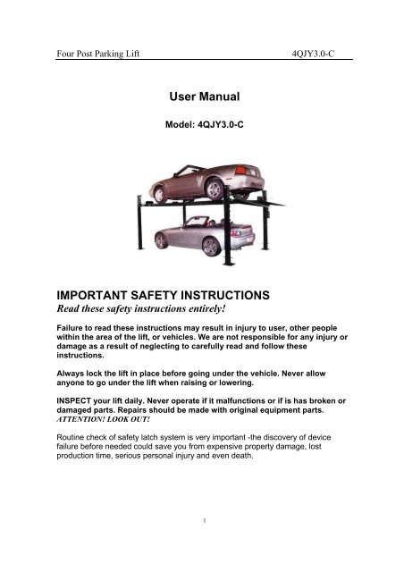 User Manual IMPORTANT SAFETY INSTRUCTIONS