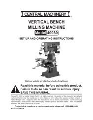 Vertical Bench Milling Machine - Harbor Freight Tools