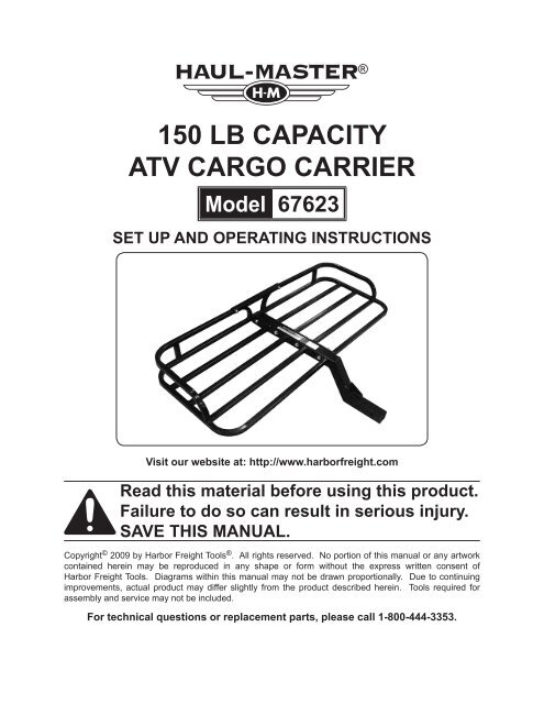 150 Lb Capacity Atv Cargo Carrier Harbor Freight Tools
