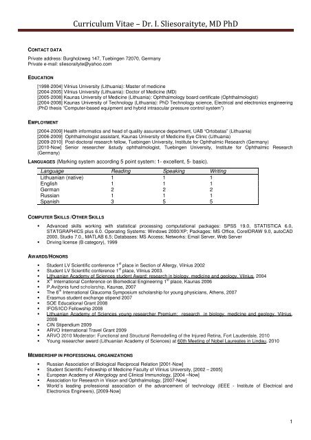 Curriculum Vitae 2011 Is Pdf Institute For Ophthalmic Research