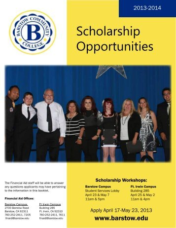 Scholarship Opportunities - Barstow Community College