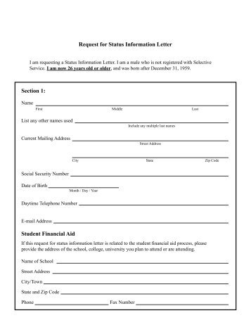 Request for Status Information Letter I am requesting a Status ...