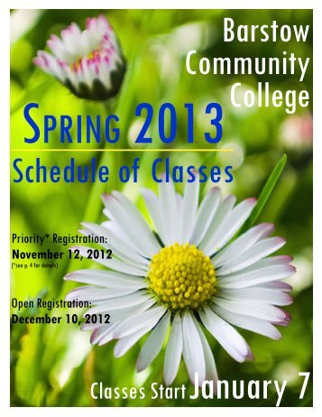 Spring 2013 Schedule of Classes - Barstow Community College
