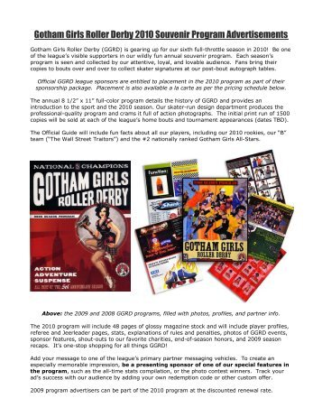 2010 Souvenir Program Info - Gotham Girls Roller Derby